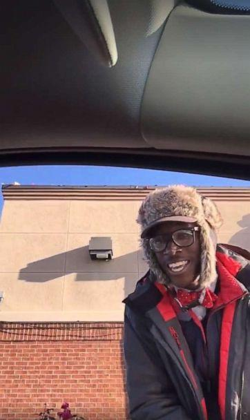 PHOTO: Jeremiah Murrill, 20, is a face-to-face drive thru greeter at the Chick-fil-A in Wilmington, N.C.Toya Liles, a Wilmington resident, recorded her interaction with Jeremiah as she and her daughter stopped at the Chick-fil-A spot to grab lunch. (Toya Liles)
