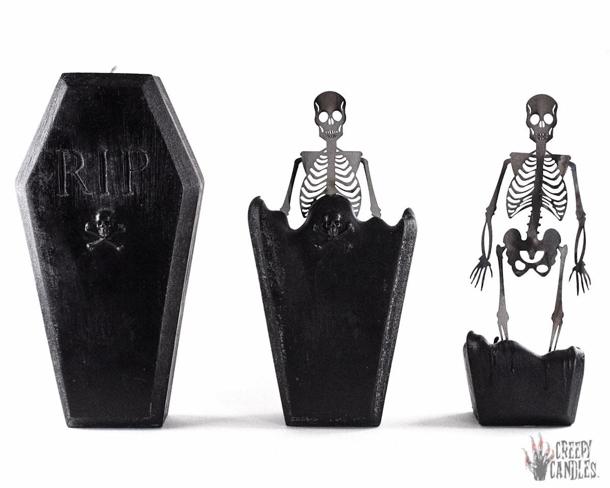 "<p>The <a href=""https://www.popsugar.com/buy/Coffin-Skeleton-Candle-493479?p_name=Coffin%20Skeleton%20Candle&retailer=etsy.com&pid=493479&price=30&evar1=casa%3Aus&evar9=46667581&evar98=https%3A%2F%2Fwww.popsugar.com%2Fhome%2Fphoto-gallery%2F46667581%2Fimage%2F46667585%2FCoffin-Skeleton-Candle&list1=halloween%2Ccandles%2Challoween%20decor&prop13=api&pdata=1"" rel=""nofollow"" data-shoppable-link=""1"" target=""_blank"" class=""ga-track"" data-ga-category=""Related"" data-ga-label=""http://www.etsy.com/listing/618532695/coffin-skeleton-candle-halloween-candles"" data-ga-action=""In-Line Links"">Coffin Skeleton Candle</a> ($30, originally $35) is a perfect addition to your spooky decor, no matter what stage of the melting process it's at!</p>"