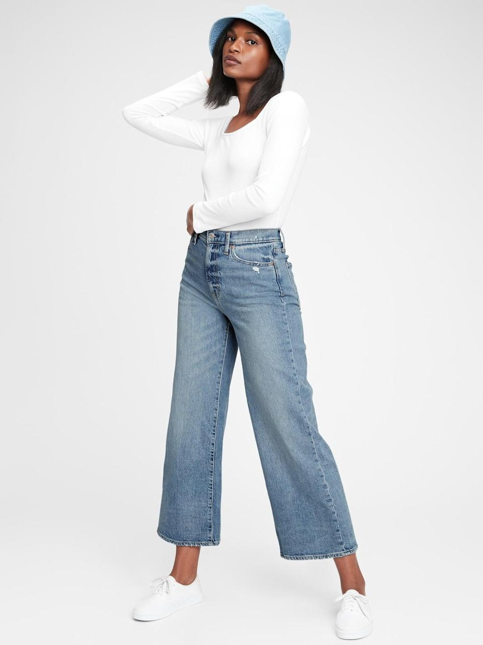 <p>These <span>Gap Sky High Wide-Leg Jeans</span> ($80) are on trend and cool. We love the button fly too.</p>