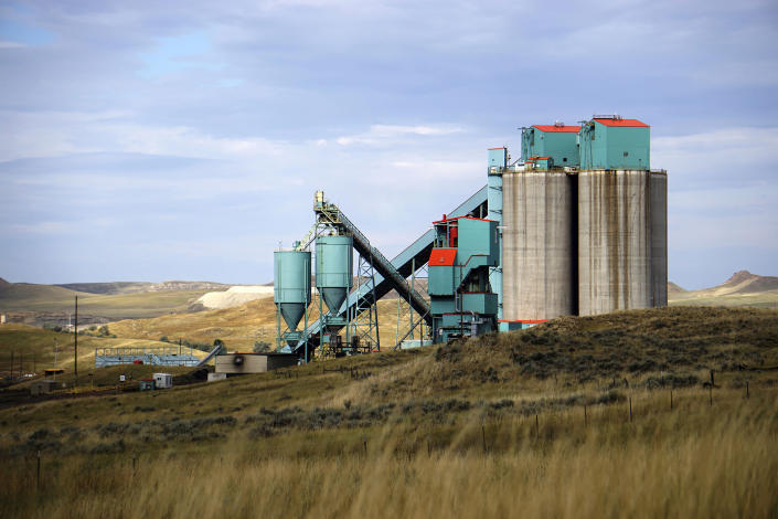 FILE - This Sept. 6, 2019 file photo, shows the Eagle Butte coal mine just north of Gillette, Wyo. While most states pursue ways to boost renewable energy, Wyoming is doing the opposite with a new program aimed at propping up the dwindling coal industry by suing other states that block exports of Wyoming coal and cause Wyoming coal-fired power plants to shut down. (AP Photo/Mead Gruver, File)
