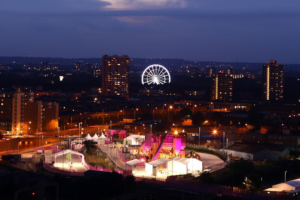 A general view of the Victoria park and the BT observation wheel close to the Olympic park during the closing ceremony of the 2012 London Olympic Games on August 12, 2012 in London, England. Athletes, heads of state and dignitaries from around the world have gathered in the Olympic Stadium for the closing ceremony of the 30th Olympiad. (Photo by Christof Koepsel/Getty Images)