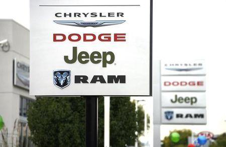 The sign outside the Chrysler auto dealer in Broomfield