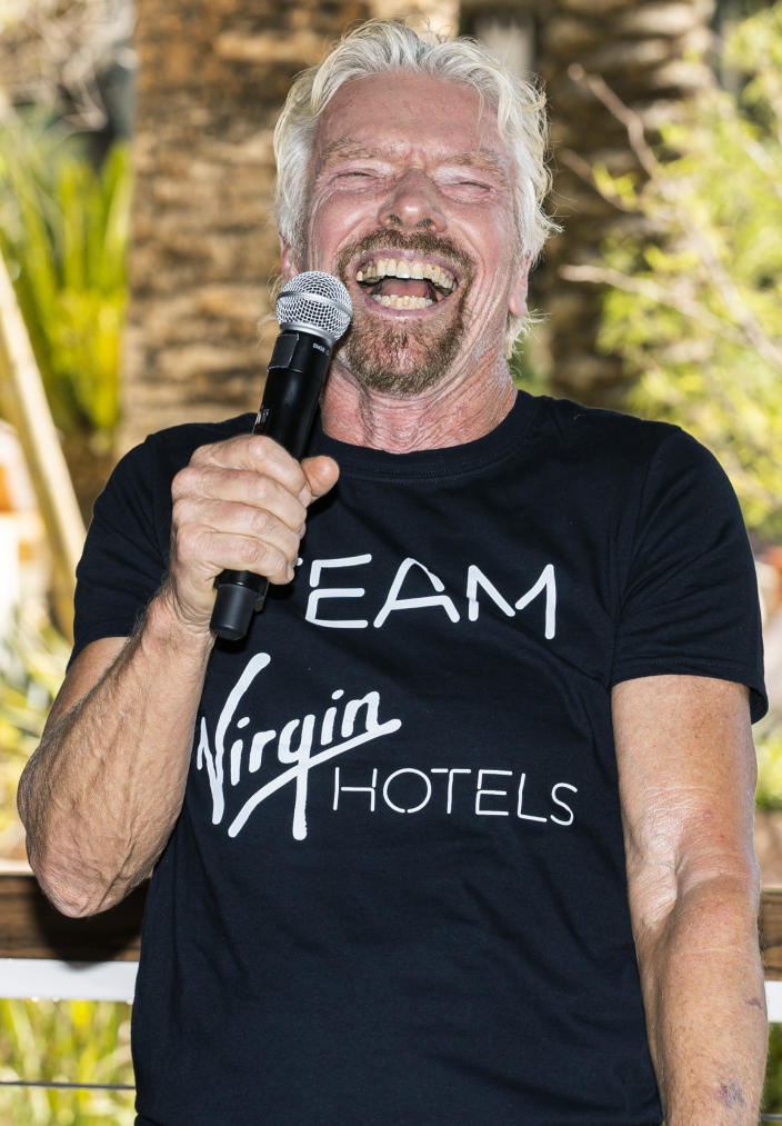 """Sir Richard Branson, founder of Virgin Group, addresses the media during the """"Unstoppable Weekend"""" kickoff party at Virgin Hotels Las Vegas on Thursday, June 10, 2021. (Benjamin Hager/Las Vegas Review-Journal via AP)"""
