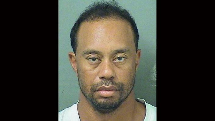 Tiger Woods after he was arrested for suspicion of DUI in Florida.