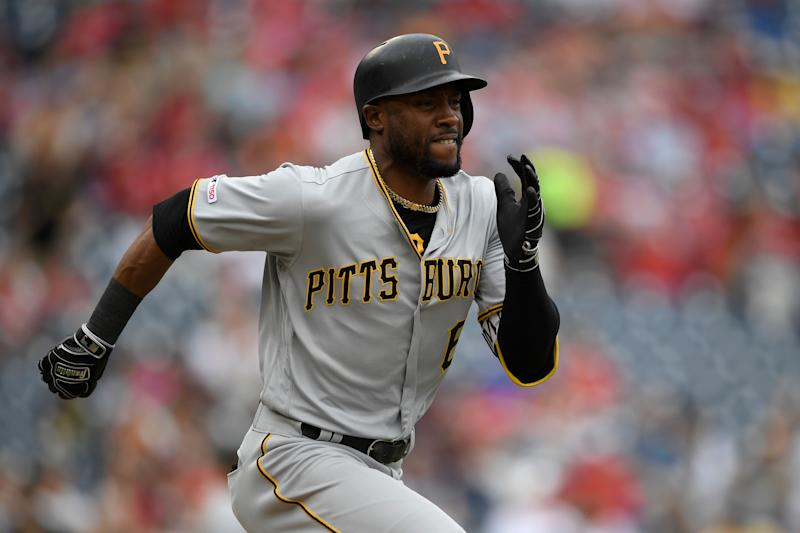 Pittsburgh Pirates' Starling Marte run towards first during a baseball game against the Washington Nationals, Sunday, April 14, 2019, in Washington. The Pirates won 4-3. (AP Photo/Nick Wass)