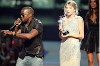 <p>Who can forget about this epic entertainment incident?! Kanye West jumps on stage after Taylor Swift won the 'Best Female Video' award during the 2009 MTV Video Music Awards at Radio City Music Hall in September of New York City. </p>
