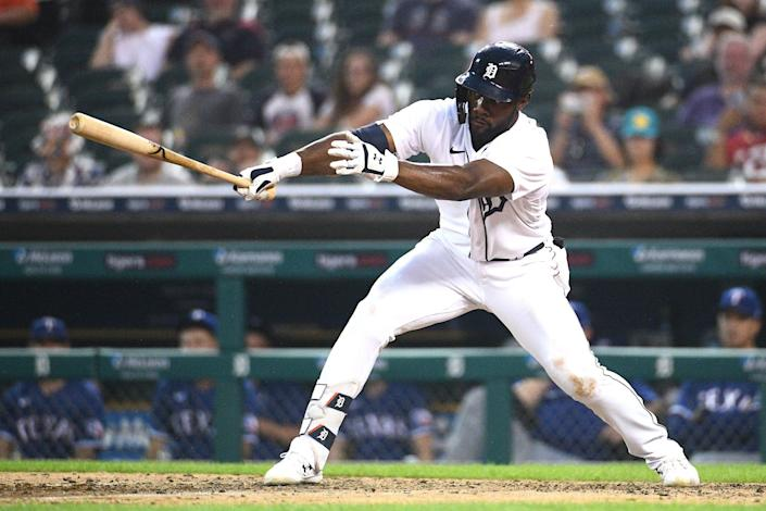 Tigers center fielder Akil Baddoo hits a two-run single during the sixth inning on Monday, July 19, 2021, at Comerica Park.