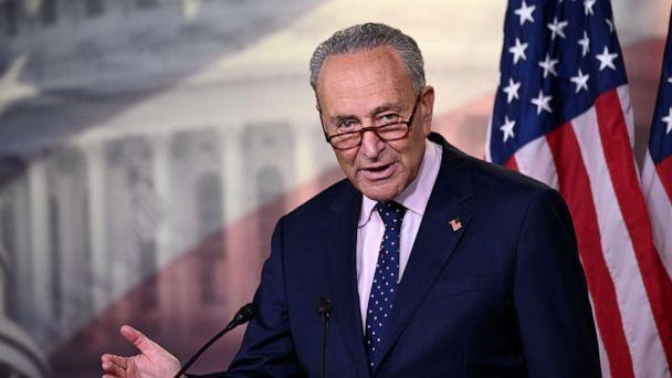 PHOTO: Sen. Minority Leader Chuck Schumer speaks at a news conference with reporters at the Capitol, in Washington, July 23, 2020. (Erin Scott/Reuters)