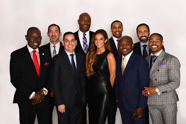 The broadcast crew for the heavyweight title rematch between Deontay Wilder and Tyson Fury on Feb. 22 in Las Vegas. Front row (L-R): Bernard Osuna, Kate Abdo, Timothy Bradley and Shawn Porter. Back row: Larry Hazzard Sr., Mark Kriegel, Lennox Lewis, Andre Ward and Joe Tessitore. (Kohjiro Kinno/ESPN Images)
