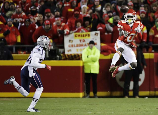 "<a class=""link rapid-noclick-resp"" href=""/nfl/players/29399/"" data-ylk=""slk:Tyreek Hill"">Tyreek Hill</a> is entering the final season of his contract with the Chiefs. (AP)"