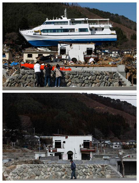 A combination photograph shows the same location in Otsuchi, Iwate Prefecture, northeastern Japan on two different dates, April 17, 2011 (top) and February 18, 2012 (bottom). The top photograph shows people taking pictures of a ship that was washed onto a building by the magnitude 9.0 earthquake and tsunami, the bottom photograph shows the same location almost a year later.    REUTERS/Toru Hanai