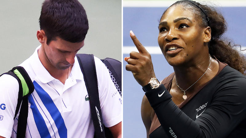 Novak Djokovic and Serena Williams, pictured here in action at the US Open.