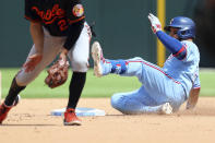 Texas Rangers catcher Jose Trevino (23) slides into second on a double in the fifth inning against the Baltimore Orioles during a baseball game on Sunday, April 18, 2021, in Dallas. (AP Photo/Richard W. Rodriguez)