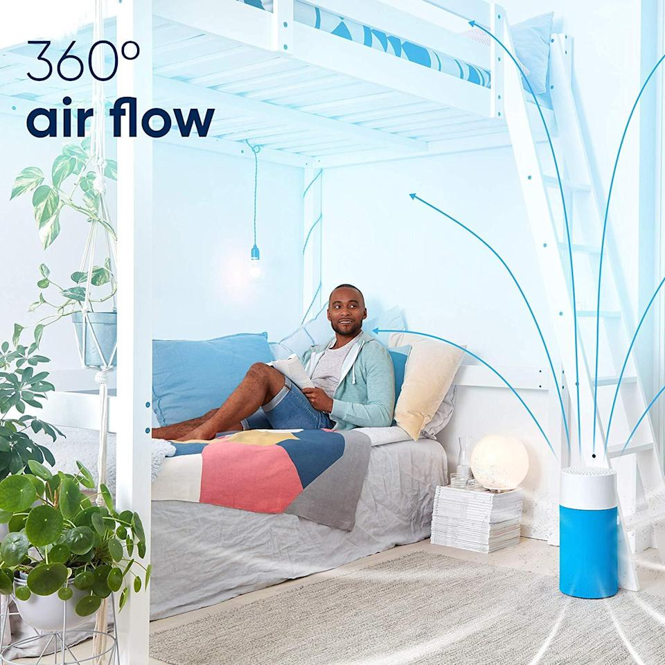 """<strong><h3><a href=""""https://amzn.to/38VV0UH"""" rel=""""nofollow noopener"""" target=""""_blank"""" data-ylk=""""slk:Blueair Blue Pure 411 Air Purifier"""" class=""""link rapid-noclick-resp"""">Blueair Blue Pure 411 Air Purifier</a></h3></strong><br>Touted as, """"simple"""" and """"user-friendly,"""" this slim, compact, and one-button control purifier toggles through three fan speeds and comes complete with a colorful array of washable pre-filters (from black to pink and blue).<br><br><strong>Blueair</strong> Blue Pure 411 Air Purifier, Small Room, $, available at <a href=""""https://amzn.to/38VV0UH"""" rel=""""nofollow noopener"""" target=""""_blank"""" data-ylk=""""slk:Amazon"""" class=""""link rapid-noclick-resp"""">Amazon</a>"""