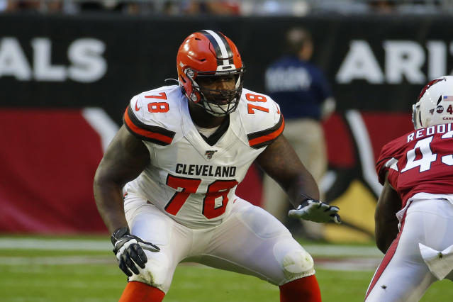 Cleveland Browns offensive tackle Greg Robinson (78) during an NFL football game against the Arizona Cardinals, Sunday, Dec. 15, 2019, in Glendale, Ariz. (AP Photo/Rick Scuteri)