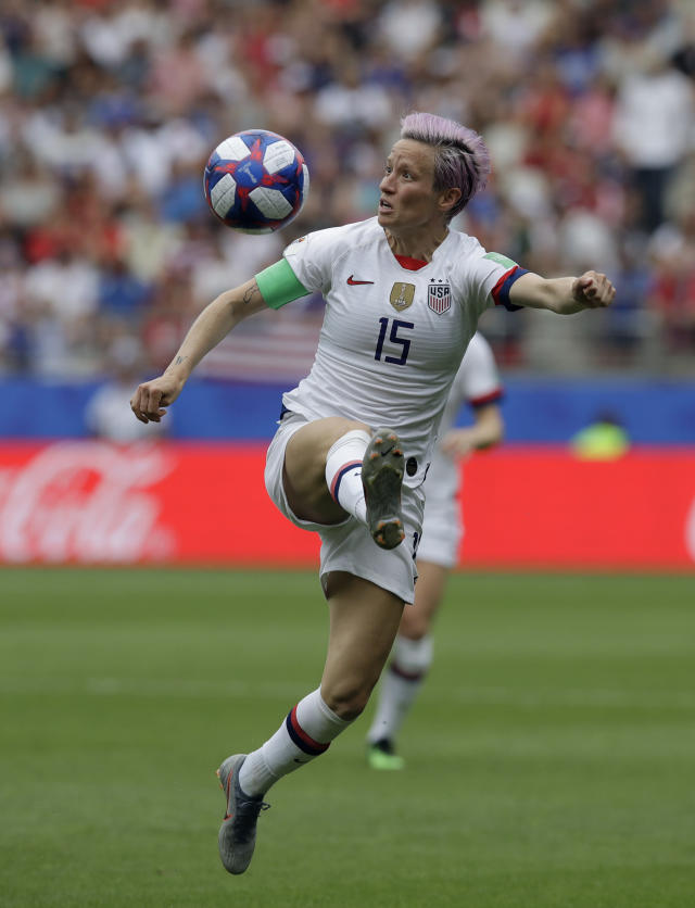 United States'Megan Rapinoe during the Women's World Cup round of 16 soccer match between Spain and US at the Stade Auguste-Delaune in Reims, France, Monday, June 24, 2019. (AP Photo/Alessandra Tarantino)