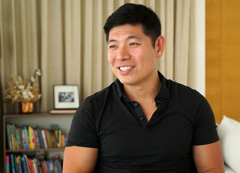 Grab CEO Anthony Tan speaks during an interview at his home in Singapore August 12, 2020. Picture taken August 12, 2020. REUTERS/Joseph Campbell