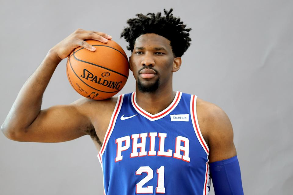 Philadelphia 76ers Joel Embiid may not be cleared for full-court action, but he's getting his conditioning in on the streets of Philadelphia. (Getty Images)