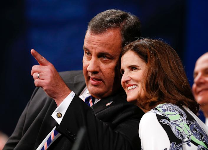 TRENTON, NJ - JANUARY 21: New Jersey Gov. Chris Christie (L) and wife Mary Pat look at the crowd after he was sworn in for his second term on January 21, 2014 at the War Memorial in Trenton, New Jersey. Christie begins his second term amid controversy surrounding George Washington Bridge traffic and Hurricane Sandy relief distribution.  (Photo by Jeff Zelevansky/Getty Images)
