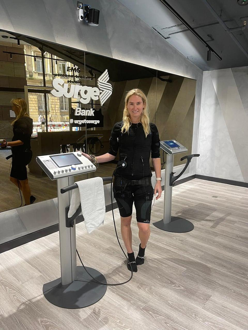 (Rosie Fitzmaurice trying out EMS at Surge, Bank)