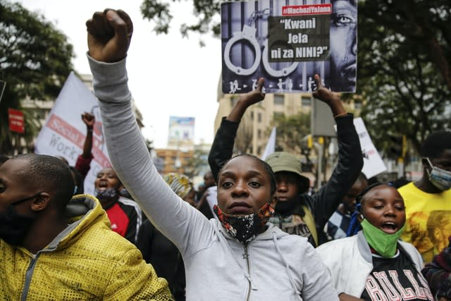 Protesters are demonstrating against police brutality
