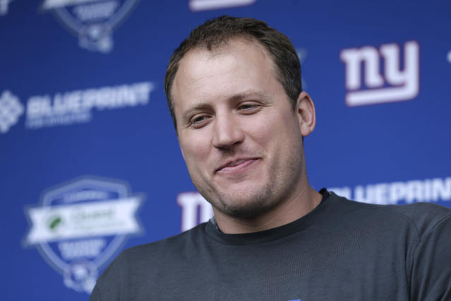 Things got heated during New York Giant minicamp on Thursday, and LT Nate Solder got rolled up on, but it appears he escaped injury. (AP)