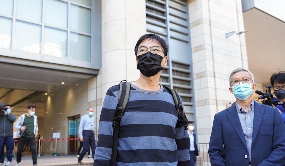 Chow Tak-ming, father of student Alex Chow, at the Coroner's Court. Photo: Winson Wong