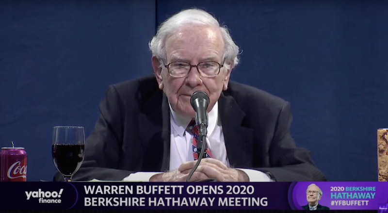Berkshire Hathaway CEO Warren Buffett speaks from the CHI Center in Omaha, Ne. on Saturday for the company's first-ever virtual shareholders meeting.