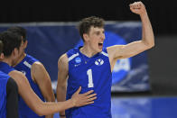 BYU's Davide Gardini (1) celebrates after a BYU point during the NCAA men's volleyball championship match against Hawaii, Saturday, May 8, 2021, in Columbus, Ohio. (AP Photo/David Dermer)