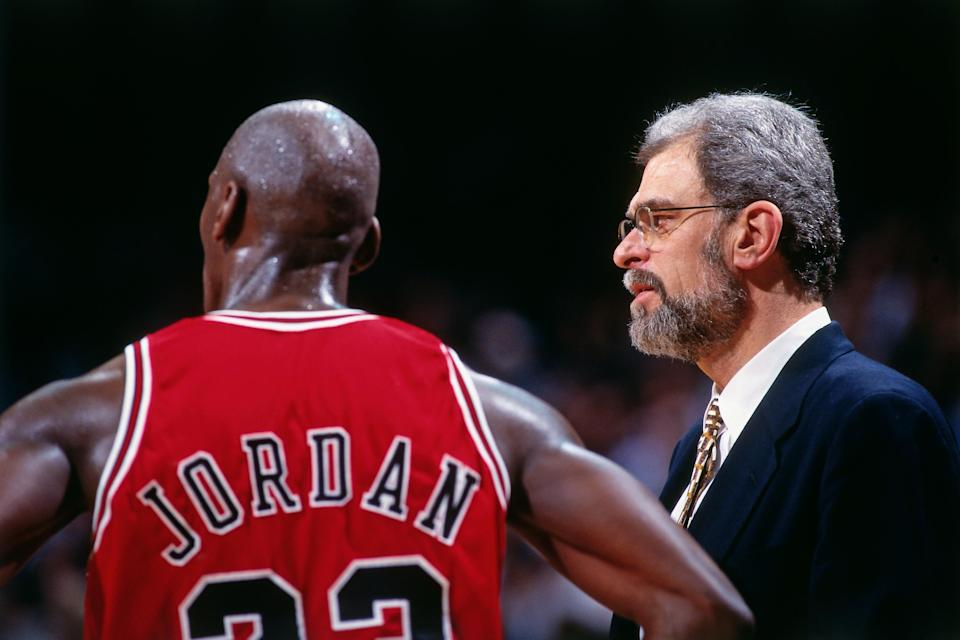 Michael Jordan and Phil Jackson in 1996 in <em>The Last Dance</em>. (Photo by Andrew D. Bernstein/NBAE via Getty Images)
