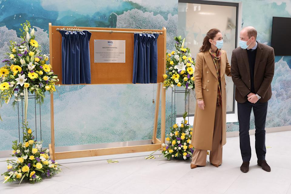 KIRKWALL, SCOTLAND - MAY 25: Catherine, Duchess of Cambridge and Prince William, Duke of Cambridge officially open The Balfour, Orkney Hospital on day five of their week long visit to Scotland on May 25, 2021 in Kirkwall, Scotland. Recently opened in 2019, The Balfour replaced the old hospital, which had served the community for ninety years. The new facility has enabled the repatriation of many NHS services from the Scottish mainland, allowing Orkney's population to receive most of their healthcare at home. The new building's circular design is based on the 5000-year-old Neolithic settlement, Skara Brae, making it a unique reflection of the local landscape in which many historical sites are circles. (Photo by Chris Jackson - WPA Pool/Getty Images)