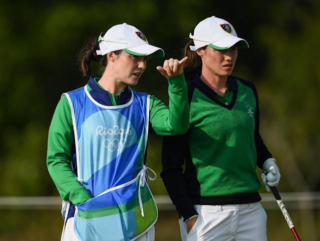 "<h1 class=""title"">Rio 2016 Olympic Games - Day 15 - Golf</h1> <div class=""caption""> Leona (right) has her eye on playing in the 2020 Olympics after representing Ireland as an amateur in 2016 (with her twin sister Lisa caddieing for her). </div> <cite class=""credit"">Stephen McCarthy</cite>"