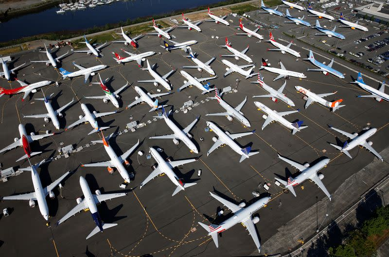 Dozens of grounded Boeing 737 MAX aircraft are seen parked at Boeing Field in Seattle