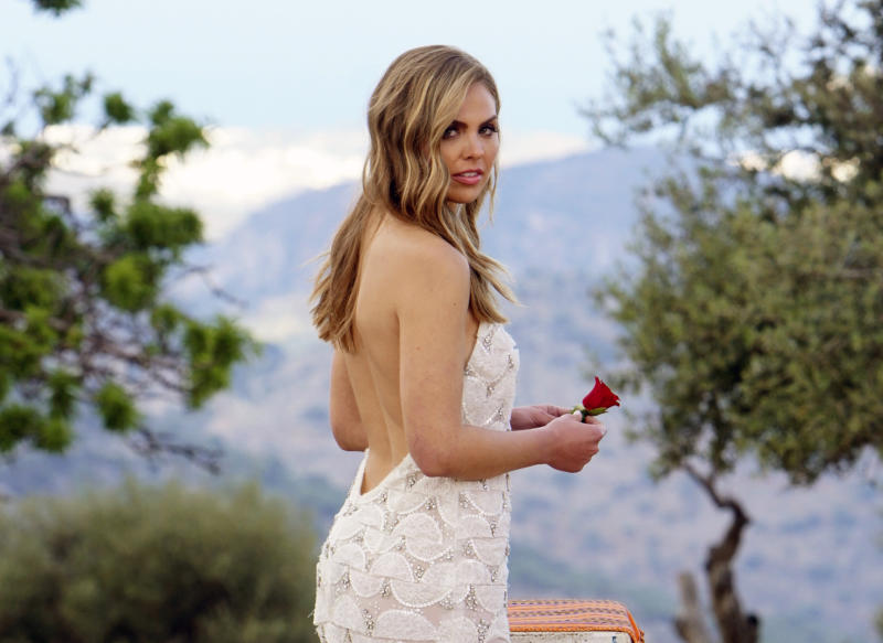 "This image released by ABC shows Hannah Brown from the season finale of ""The Bachelorette."" On Tuesday's finale, viewers saw Brown get engaged to Jed Wyatt. Their happiness was short-lived because the day after their engagement she learned he had a girlfriend when he joined the show. Cameras rolled as she confronted him for more information. (Mark Bourdillon/ABC via AP)"