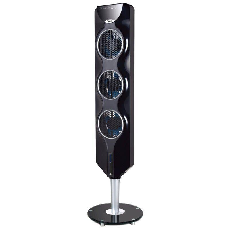 "This tower fan has a slim form that won't take up too much space, blades with passive noise reduction, a programmable timer and an extended-reach remote. It has a 4.6-star rating with more than 100 reviews. <a href=""https://fave.co/3cbL0sO"" rel=""nofollow noopener"" target=""_blank"" data-ylk=""slk:Find it for $96 at Wayfair"" class=""link rapid-noclick-resp"">Find it for $96 at Wayfair</a>."