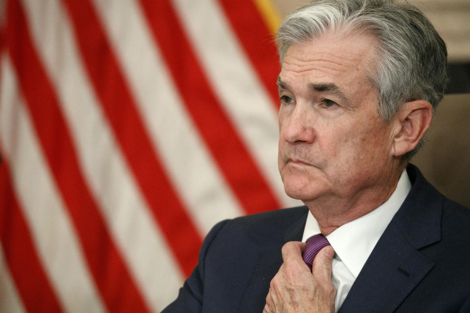 Federal Reserve Chairman Jerome Powell attends a panel at the Federal Reserve Board Building in Washington. (AP Photo/Jacquelyn Martin)