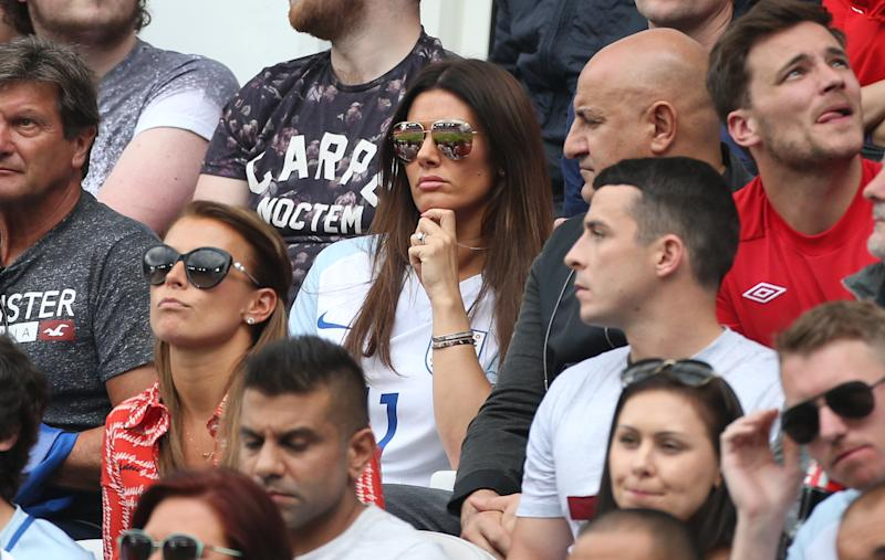 LENS, FRANCE - JUNE 16: Coleen Rooney, wife of Wayne Rooney, Rebekah Vardy, wife of Jamie Vardy of England attend the UEFA EURO 2016 Group B match between England v Wales at Stade Bollaert-Delelis on June 16, 2016 in Lens, France. (Photo by Jean Catuffe/Getty Images)