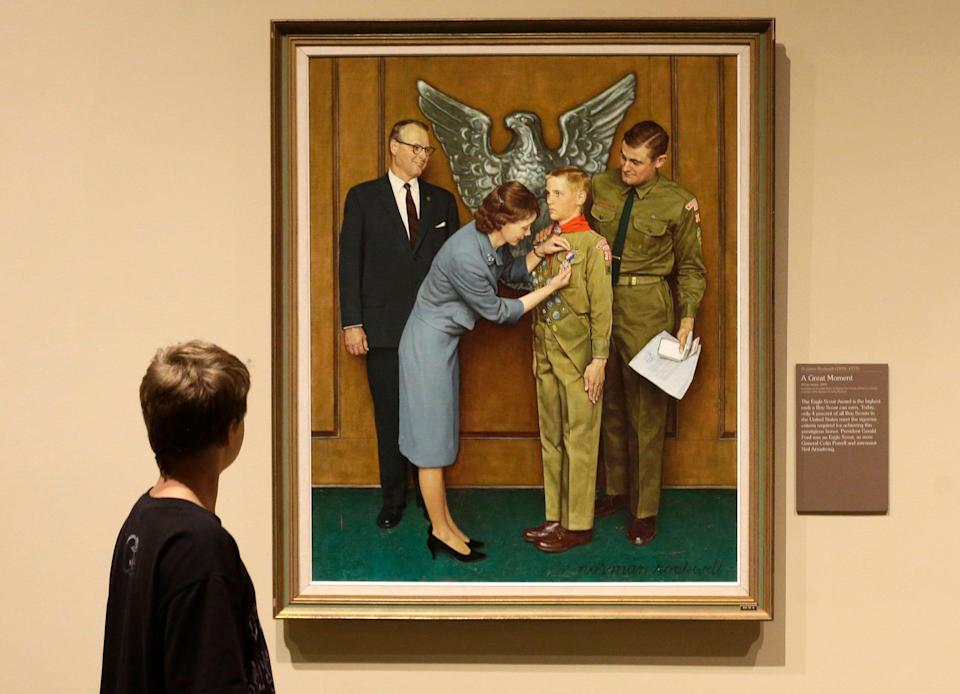 A Boy Scout-themed Norman Rockwell painting is displayed on July 22, 2013, during an exhibition at the Church History Museum in Salt Lake City, Utah. The Boy Scouts of America disclosed in a bankruptcy document that the group owns original Rockwell paintings, which would be sold off to pay sexual abuse victims.