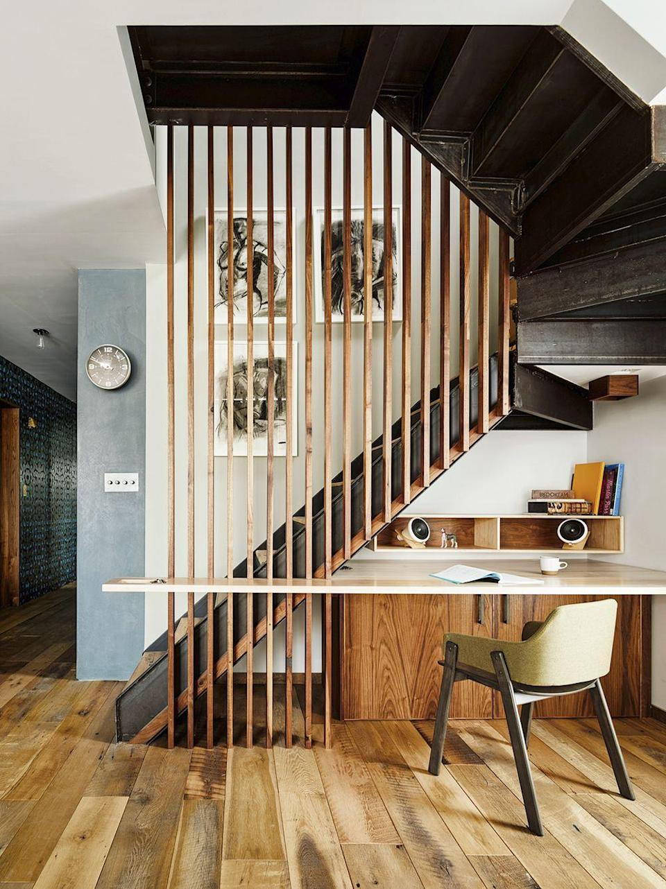 """<p>Make use of 'dead space' under your staircase by slotting in an office, like New York design practice General Assembly has in this Brooklyn apartment. Genius ideas include the slatted wall that lets light filter into the study from upstairs and the way the desk wraps around it to create extra workspace. <a href=""""https://www.genassembly.com/"""" rel=""""nofollow noopener"""" target=""""_blank"""" data-ylk=""""slk:genassembly.com"""" class=""""link rapid-noclick-resp"""">genassembly.com</a></p>"""