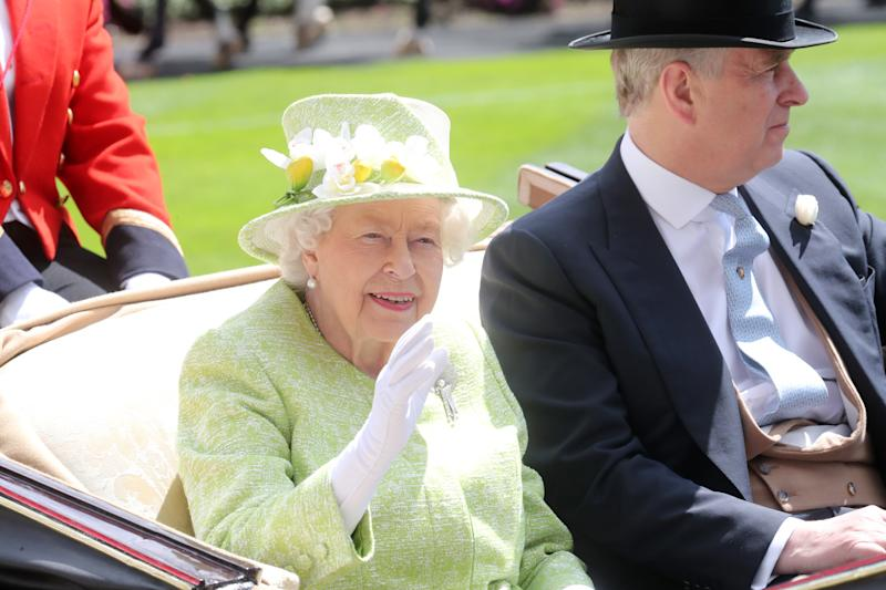 Queen Elizabeth II and Prince Andrew, Duke of Yorkat Royal Ascot at Ascot Racecourse on June 22, 2019.