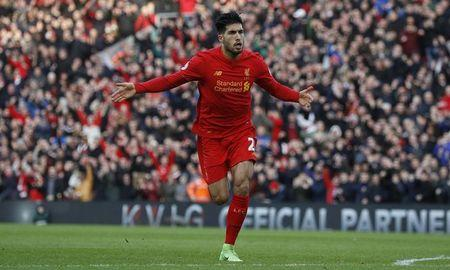 Liverpool's Emre Can celebrates scoring their second goal