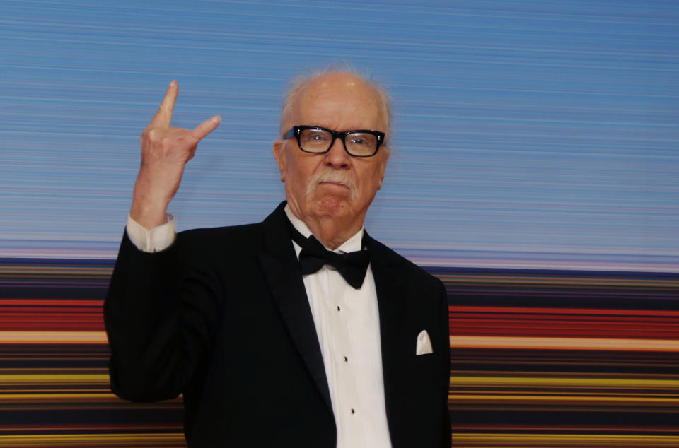 72nd Cannes Film Festival - The Carrosse d'Or (Golden Coach) award - Red Carpet Arrivals - Cannes, France, May 15, 2019. Director John Carpenter poses before receiving the Carrosse d'Or (Golden Coach) award. REUTERS/Regis Duvignau