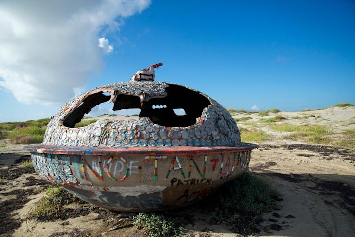 Sometimes beachcombers on South Padre Island come across artistic creations by the sea.