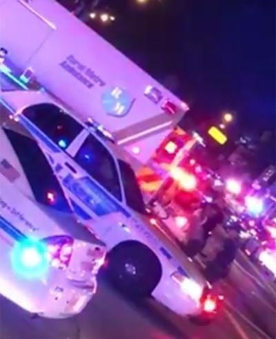 Emergency services outside the Orlando club, Pulse, amid reports of a mass shooting. Picture: A Tonyz Nation/Facebook