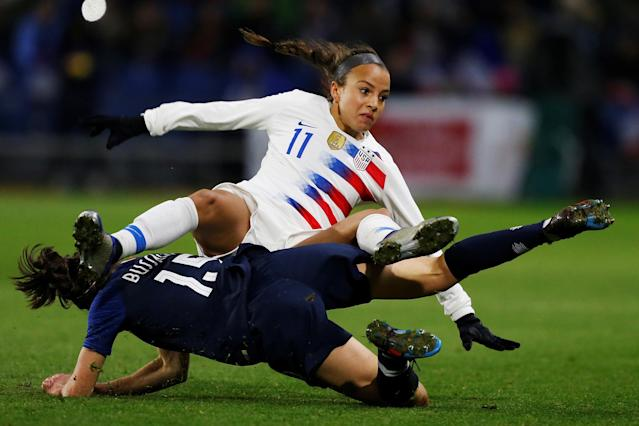 Not even Mallory Pugh's stoppage-time goal could put a positive spin on the USWNT's loss in France. (Getty)