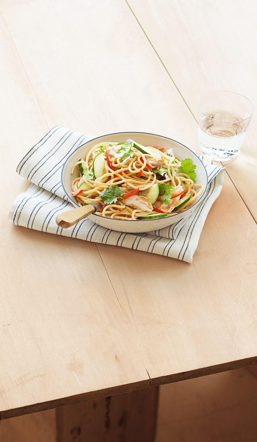 """<p>Why get takeout when you can transform your Thanksgiving leftovers into these slightly spicy noodles?</p><p><em><a href=""""https://www.goodhousekeeping.com/food-recipes/a15664/sesame-peanut-noodles-recipe-ghk0314/"""" rel=""""nofollow noopener"""" target=""""_blank"""" data-ylk=""""slk:Get the recipe for Sesame Peanut Noodles »"""" class=""""link rapid-noclick-resp"""">Get the recipe for Sesame Peanut Noodles »</a></em></p>"""
