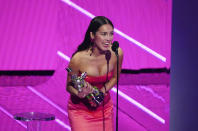 Olivia Rodrigo accepts the award for best new artist at the MTV Video Music Awards at Barclays Center on Sunday, Sept. 12, 2021, in New York. (Photo by Charles Sykes/Invision/AP)