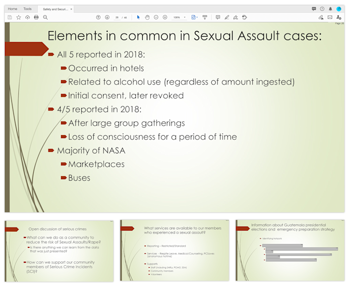 A Peace Corps volunteer whose rape was among the five highlighted in a 2019 staff presentation on crime prevention in Guatemala said her assault was mischaracterized. She said she never consented to sexual contact.