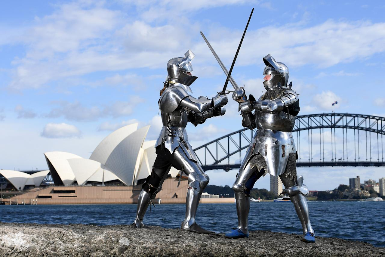 Medieval jousters Luke Binks (L) and Andrew McKinnon pose for a photograph in Sydney, Australia, August 16, 2017 during a photo call for the World Jousting Championships to take place in Sydney on September 23 and 24.   AAP/Dan Himbrechts/via REUTERS.   ATTENTION EDITORS - THIS PICTURE WAS PROVIDED BY A THIRD PARTY. NO RESALES. NO ARCHIVE. AUSTRALIA OUT. NEW ZEALAND OUT.     TPX IMAGES OF THE DAY