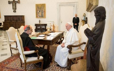 Pope Francis receives Cardinal Philippe Barbarin, Archbishop of Lyon, at the Vatican - Credit: Reuters